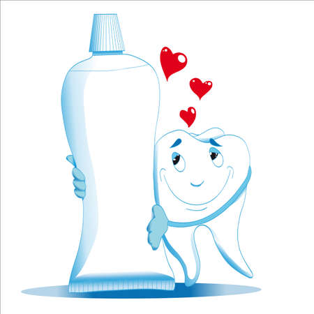 healthy tooth smiles hugs toothpaste shows his love at the top of the heart
