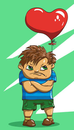 melancholy: boy with balloon in the shape of heart is in shorts and T-shirt