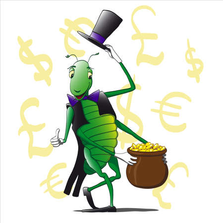 Grasshopper hat and suit holding a pot of money