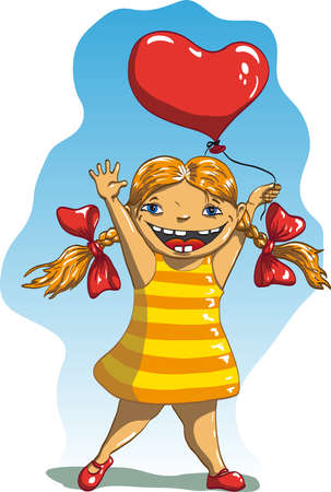 girl in a striped dress with a wide smile lifted her hands up and holding a balloon in the form of heart