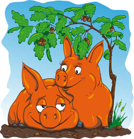 embraced: happy pigs are embraced under the oak acorns around