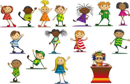 Joyful children in colorful dress dancing next to DJ