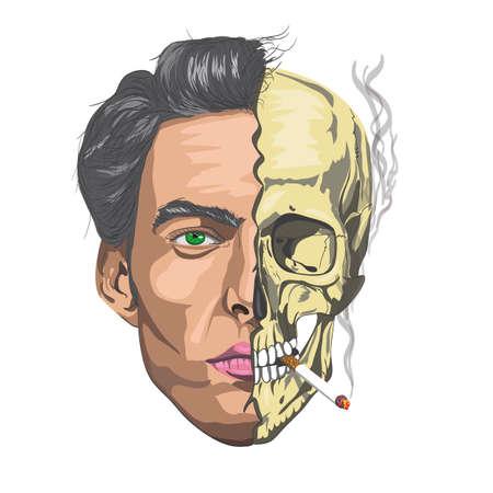 smoking a cigarette: male face half a skull   smoking a cigarette