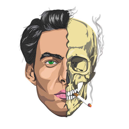 male face half a skull smoking a cigarette Illustration