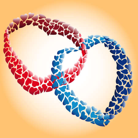 entwined: two loving hearts of many small hearts entwined together
