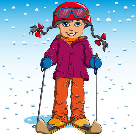 goes: Girl in winter suit goes skis