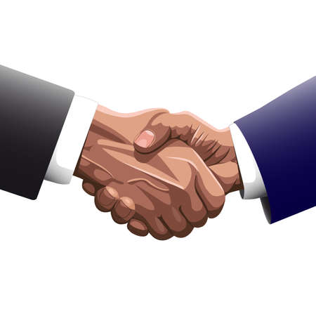 greet: Handshake of two men in business suits of   the contracting or greet Illustration