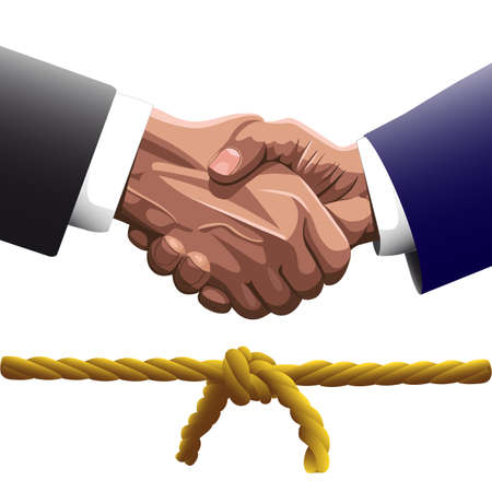 knotted: Handshake of two men in business suits of   the contracting or hello, and the bottom two ropes knotted