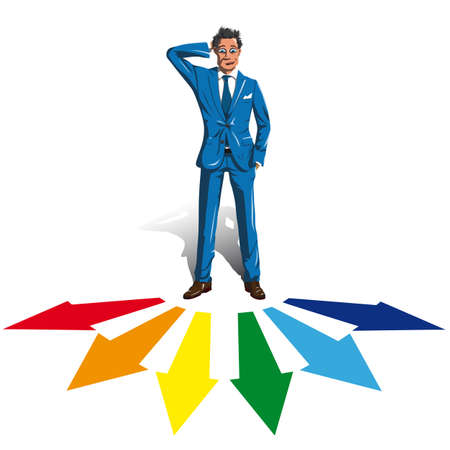 puzzled: puzzled man in a suit and tie standing in front of the arrow pointer and tries to make a choice