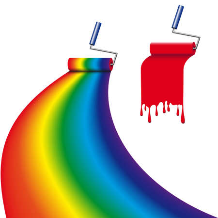 pulley: with different paint roller painted the surface in the form of a rainbow Illustration