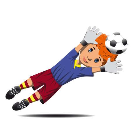 goalkeeper: Boy goalkeeper jump catches a   soccer ball Illustration