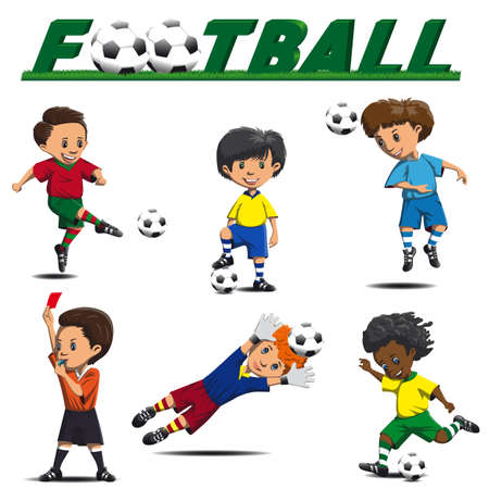 striker: football and   various players, striker, defender, goalkeeper, referee in game situations Illustration