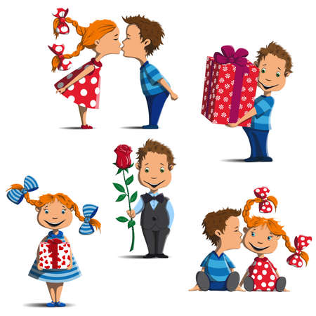 girl and boy are standing, sitting, kissing, give gifts and flowers