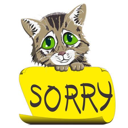 Pequeño gatito se sienta y pide perdón, sosteniendo un pedazo de papel con una inscripción - lo siento