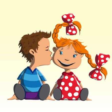 Boy sentado felicita chica con las vacaciones y la besa en la mejilla Foto de archivo - 71786020