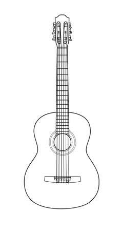 Belle guitare acoustique en boucle sur un fond blanc