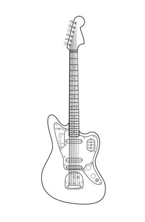 sport fan: Beautiful rock electric guitar in a loop on a white background