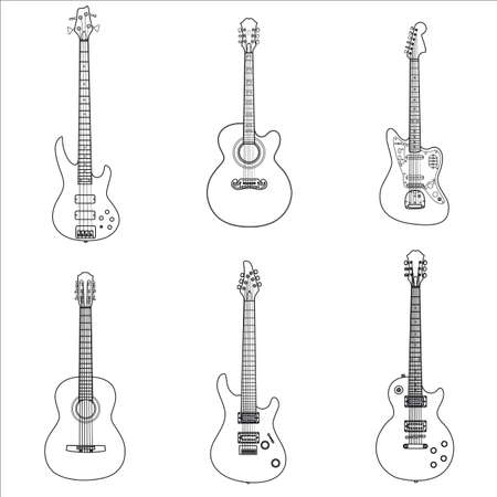 Classic acoustic and electric guitar rock in the form of the contour on a white background Vektoros illusztráció