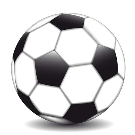 Beautiful classic soccer ball on a white background lies on the field