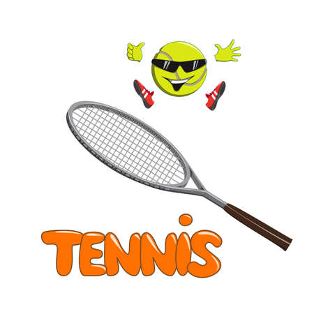 Smiling tennis ball in sneakers jumping on tennis racket Illustration