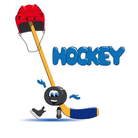 puck: Hockey puck is ice skating Illustration