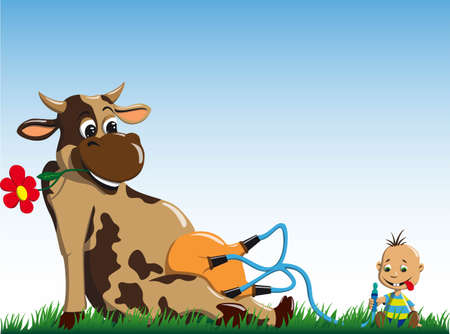 udder: A little boy sits and drinks milk directly from the cow Illustration