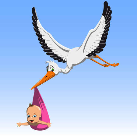 Cartoon cute stork carrying a child in a beak to parents