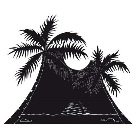 Two palms tilted to each other stand on a sea beach under the sun in black and white