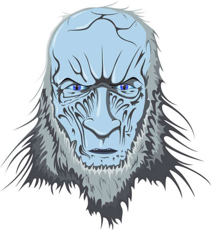 The blue head of a zombie with an icy gaze Illustration