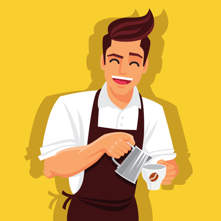 kind: Cute and funny barista prepares coffee. illustration on a yellow background.