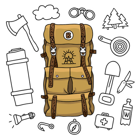 survival knife: Brown travel bag on a white background surrounded by tourist icons. illustration drawn by hand.