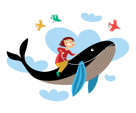 reins: Drawing boy sitting astride a whale, flying in the clouds with birds.