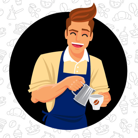 barista: Cute and funny barista prepares coffee. illustration on a black background.