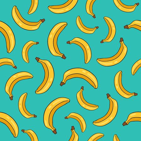 青い背景に黄色い熟したバナナのシームレス パターン