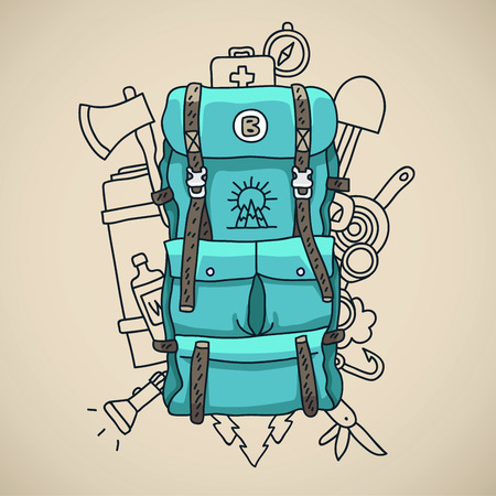 survival knife: Blue tourist backpack on a gray background surrounded by tourist icons. illustration drawn by hand. Illustration