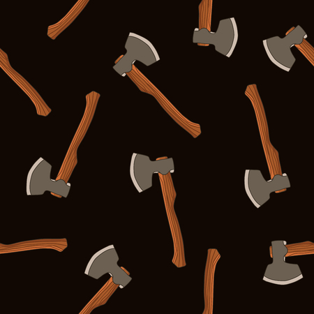 felling: Seamless pattern of the axes on a black background, painted by hand. Illustration
