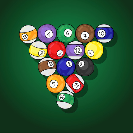 clarity: Billiards Balls. illustration drawn by hand on a green background.