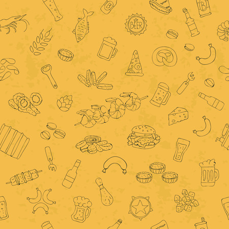 onion rings: seamless pattern of beer icons on yellow background, painted by hand.