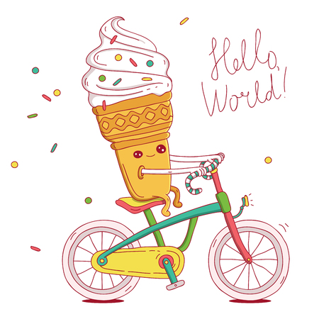 sprinkling: Cute and fun ice-cream cone rides a bicycle. illustration on white background. Illustration