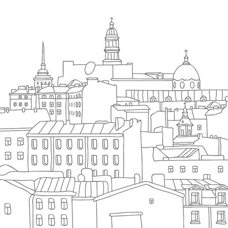 peace pipe: City. St. Petersburg. Vector illustration drawn by hand on a white background.