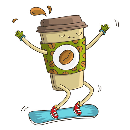odor: Cute and cheerful cup of coffee goes to blue snowboarding. illustration on white background.