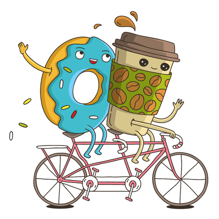 Cute and funny cup of coffee and a donut on a pink bike ride. illustration on white background.