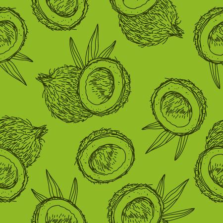 Naadloos patroon van kokosnoten op een groene achtergrond, met de hand beschilderd. Stock Illustratie