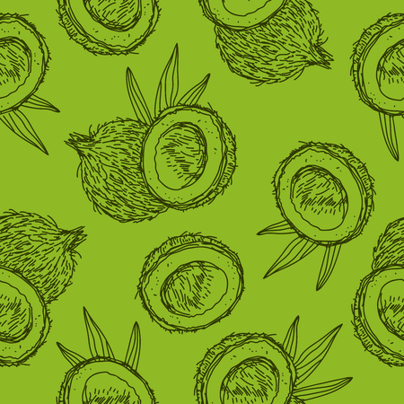 Seamless pattern of coconuts on a green background, painted by hand.