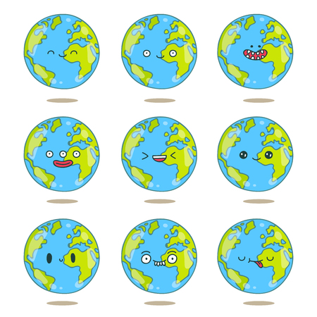 green face: Cute and funny globe with different emotions on a white background. illustration drawn by hand.