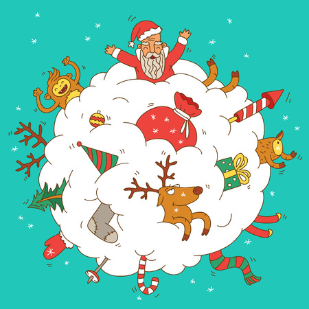 snowball: Snowball with a reindeer, Santa and gifts. illustration on a pink background.