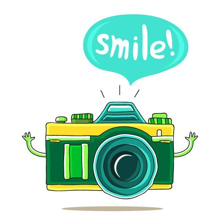 green cute: Green Cute camera with his hands and says Smile! on a white background. illustration drawn by hand.