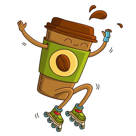 hot rollers: Cute and cheerful cup of coffee riding on roller skates. illustration on white background.