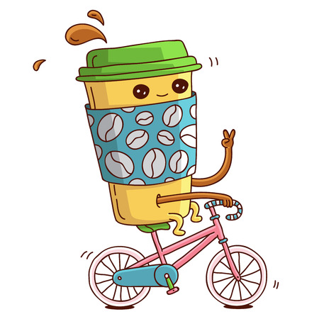 Cute and cheerful cup of coffee on a pink bike rides. illustration on white background.