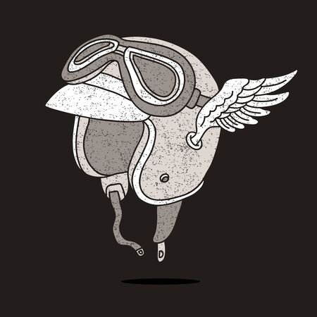 artificial wing: Motorcycle helmet with goggles and wings. illustration on a black background.